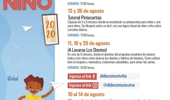 Municipio de Viña del Mar ofrece variada programación virtual para los niños en su día y durante todo el mes de agosto
